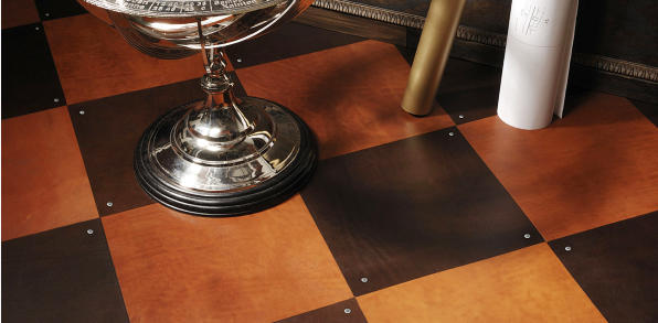 Floor design with leather